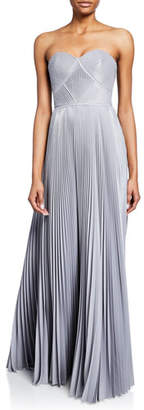 Marchesa Strapless Pleated Lame Gown with Metallic Trim