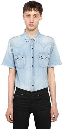 Saint Laurent Western Style Cotton Denim Shirt