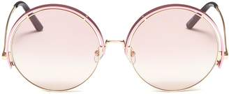 Matthew Williamson Contrast upper rim metal round sunglasses