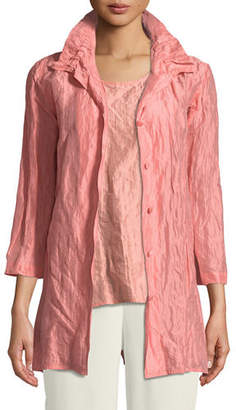 Caroline Rose Ruched-Collar Crinkled Jacket