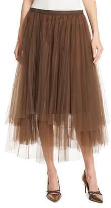 Brunello Cucinelli Monili-Waistband Pleated Tulle Midi Skirt