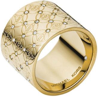 Michael Kors MK Pave Monogram Ring, Golden
