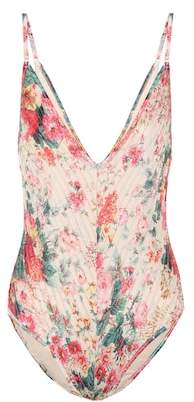 Zimmermann Laelia floral pintuck swimsuit