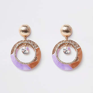 River Island Purple glitter rhinestone drop earrings