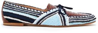 GABRIELA HEARST Hays crocodile-effect leather and crochet loafers