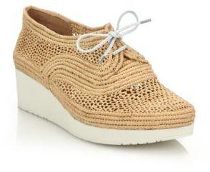 Robert Clergerie Vicolek Raffia Wedge Sneakers $395 thestylecure.com