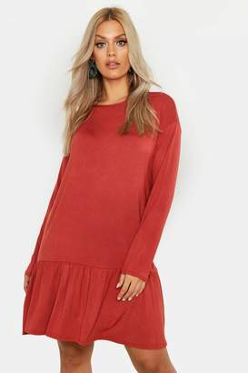 boohoo Plus Drop Hem Crew Neck Jersey Smock Dress