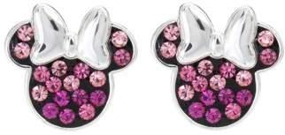 Disney Minnie Mouse Sterling Silver Multi Pink Crystal Stud Earrings