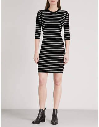 Mo&Co. Striped ribbed-knit mini dress