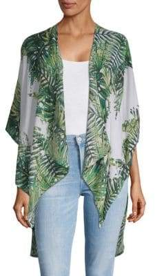 Tropical-Print Wrap Cardigan