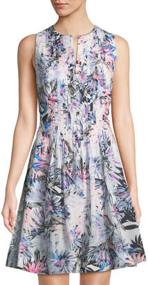 NYDJ Lana Palm-Leaf Fit-&-Flare Dress