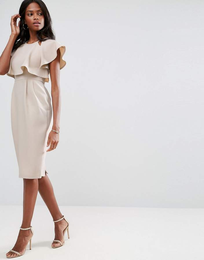 Asos ASOS Double Layer Wiggle Dress With Cut Outs and Angel Sleeve