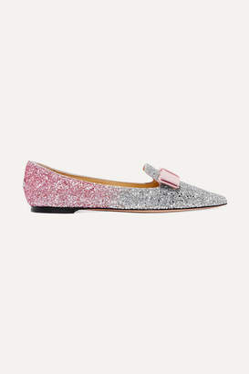 Jimmy Choo Gala Grosgrain-trimmed Dégradé Glittered Leather Point-toe Flats - Baby pink