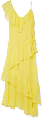 Alice + Olivia Alice Olivia - Olympia Cold-shoulder Ruffled Silk-chiffon Midi Dress - Bright yellow