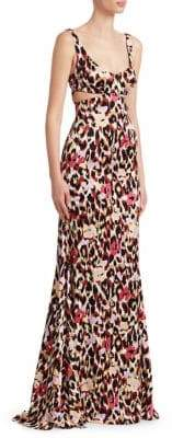 Roberto Cavalli Animal Print Cutout Gown