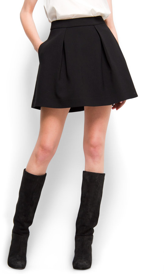 Pleated flared skirt