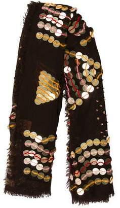 Tory Burch Embellished Wool Scarf