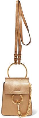 Chloé Faye Bracelet Metallic Textured-leather Shoulder Bag - Gold