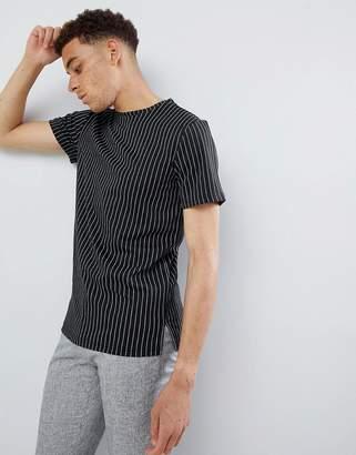 Mennace Black Regular Pinstriped T-Shirt
