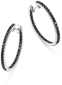 Bloomingdale's Black Diamond Inside Out Hoop Earrings in 14K White Gold, 1.35 ct. t.w. - 100% Exclusive
