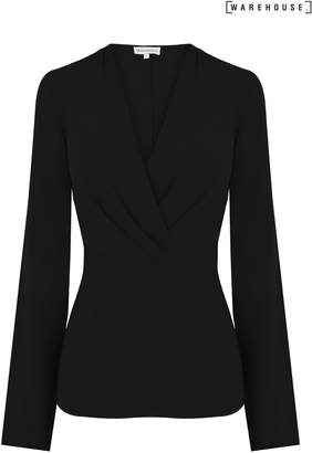 Next Womens Warehouse Black Pleat Long Sleeve Wrap Top