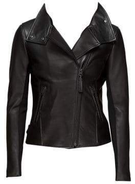 Mackage Women's Sandy Classic Moto Leather Jacket - Black - Size XXS