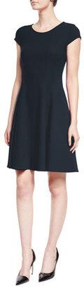 Armani Collezioni Cap-Sleeve Fit-&-Flare Dress, Navy $1,595 thestylecure.com