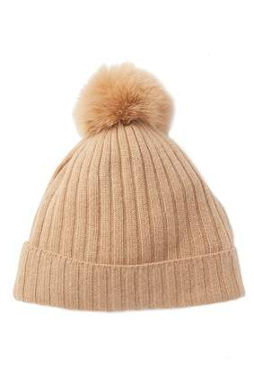 Sofia Cashmere Genuine Fox Fur Pompom Ribbed Lurex Beanie