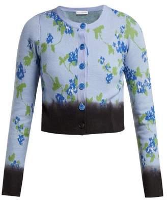 Altuzarra Zannone Floral Intarsia Wool Cardigan - Womens - Blue Multi
