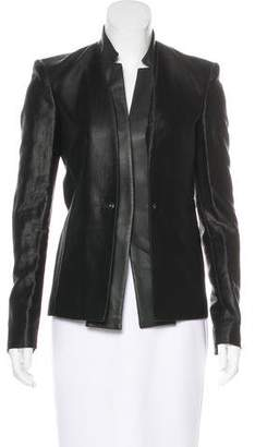 J Brand Leather-Trimmed Structured Blazer w/ Tags