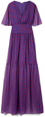 Eywasouls Malibu Maria Printed Chiffon Maxi Dress - Purple