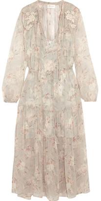 Zimmermann - Garland Appliquéd Printed Crinkled Silk-chiffon Dress - Cream $950 thestylecure.com
