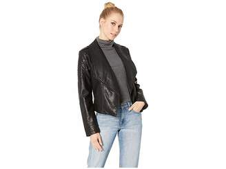 BB Dakota Take The 101 Drape Front Rippled Vegan Leather Jacket