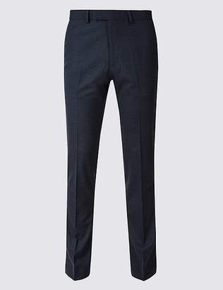 Marks and Spencer Blue Textured Modern Slim Fit Trousers