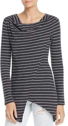 Andrew Marc Striped Asymmetric Overlay Top