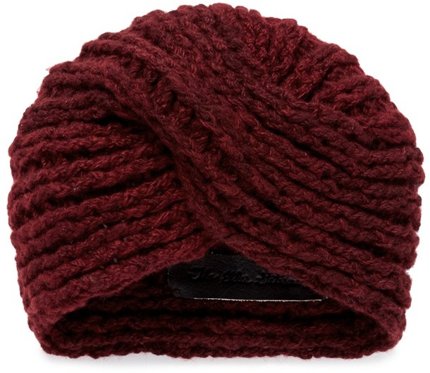 Chunky cashmere knit turban beanie