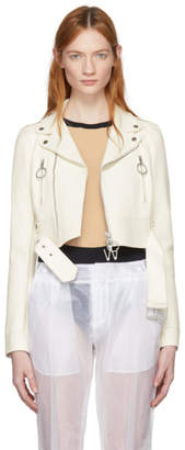 Off-White White Cropped Biker Leather Jacket