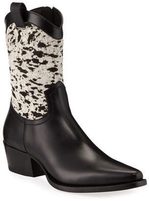 DSQUARED2 Men's Spotted Hair & Leather Cowboy Boots