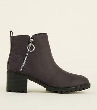 New Look Grey Ring Zip Cleated Sole Ankle Boots