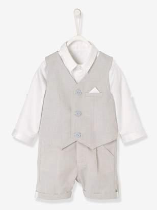 Vertbaudet Baby Boys' Shirt + Waistcoat + Bermuda Shorts Outfit