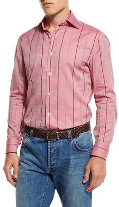 Isaia Windowpane-Check Sport Shirt $745 thestylecure.com