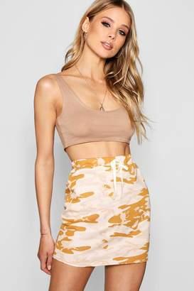 boohoo Allegra Camo Loopback Mini Skirt