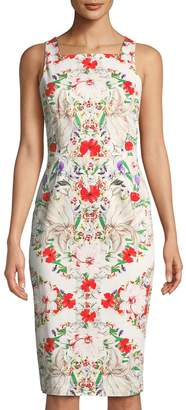 Maggy London Square-Neck Floral Midi Dress