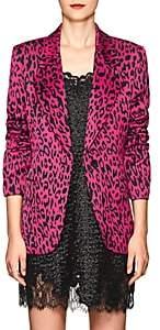Robert Rodriguez Women's Leopard-Print Satin Single-Button Blazer-Pink