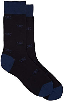 Barneys New York Men's Skull-Pattern Wool-Blend Mid-Calf Socks - Navy