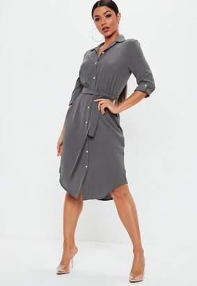 Missguided Grey Tie Belt Midi Shirt Dress