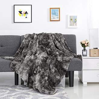 """LANGRIA Luxury Super Soft Faux Fur Fleece Throw Blanket Cozy Fluffy Warm Breathable Lightweight and Machine Washable Dyed Fabric for Winter – Decorative Throw for Couch Sofa Bed (50"""" x 60"""""""