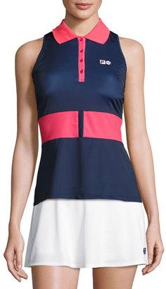 Fila MB Court Central Sleeveless Polo Shirt, Blue $140 thestylecure.com