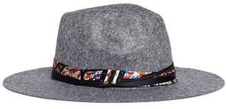 Venna House print scarf wool felt fedora hat