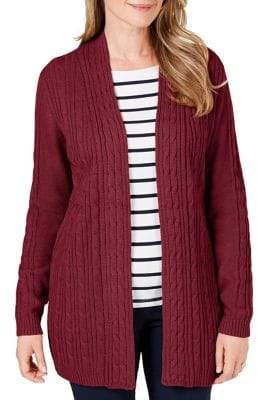 Karen Scott Solid Cable Knit Cardigan